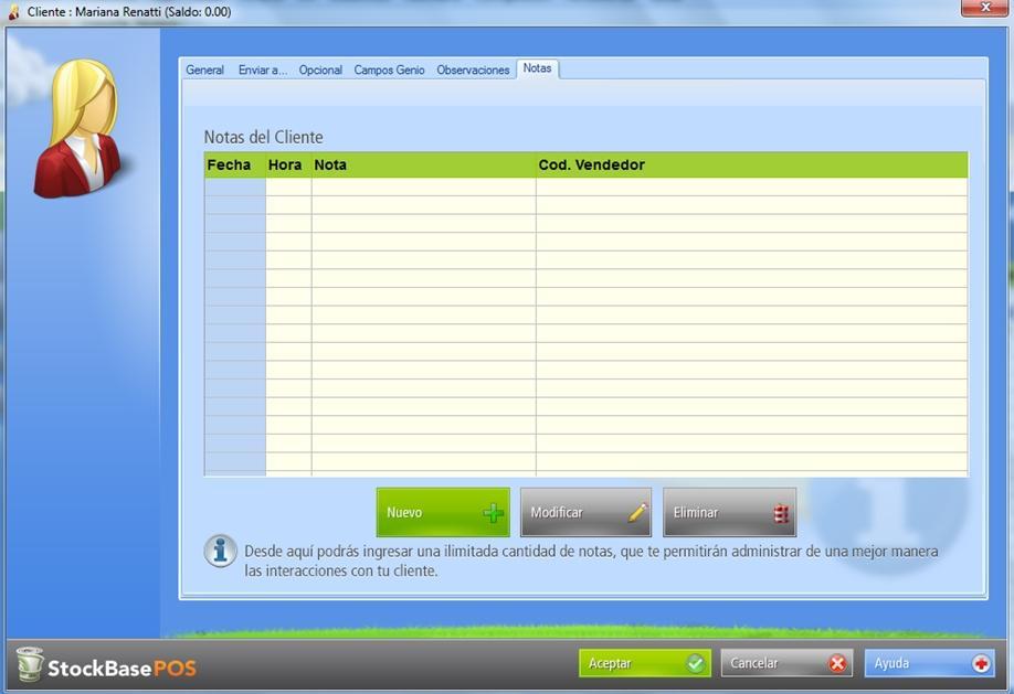 La pesta帽a Notas est谩 disponible en los registros de clientes existentes en la base de datos