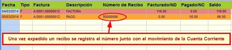 Se registró el número de recibo que fue asignado por el sistema