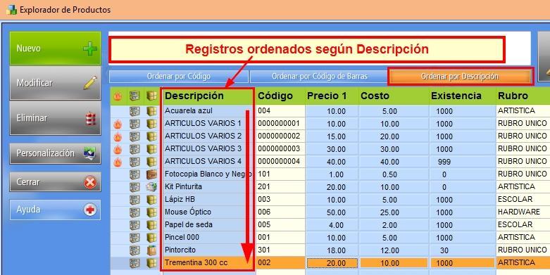 Orden de los registros en la base de datos