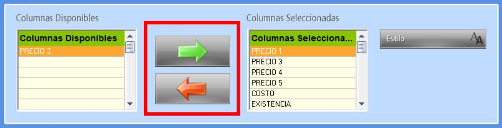 Botones de selección de Columnas