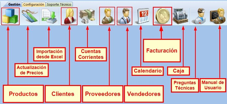 Barra de iconos del Programa de Gesti贸n