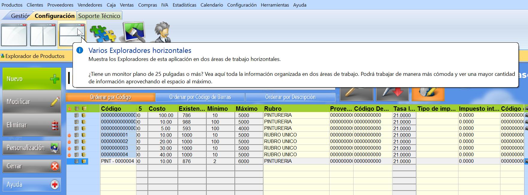 铆cono de varios exploradores horizontales en el menu de configuraci贸n del software de gestion