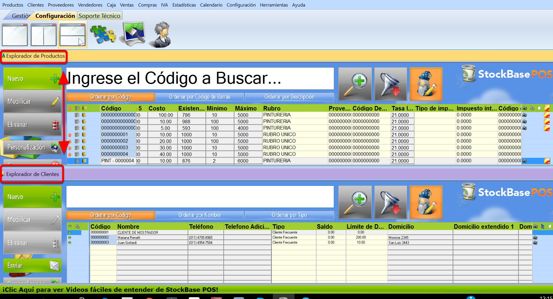 Vista en simult谩neo de varios exploradores horizontales en sistema de gestion Stockbase