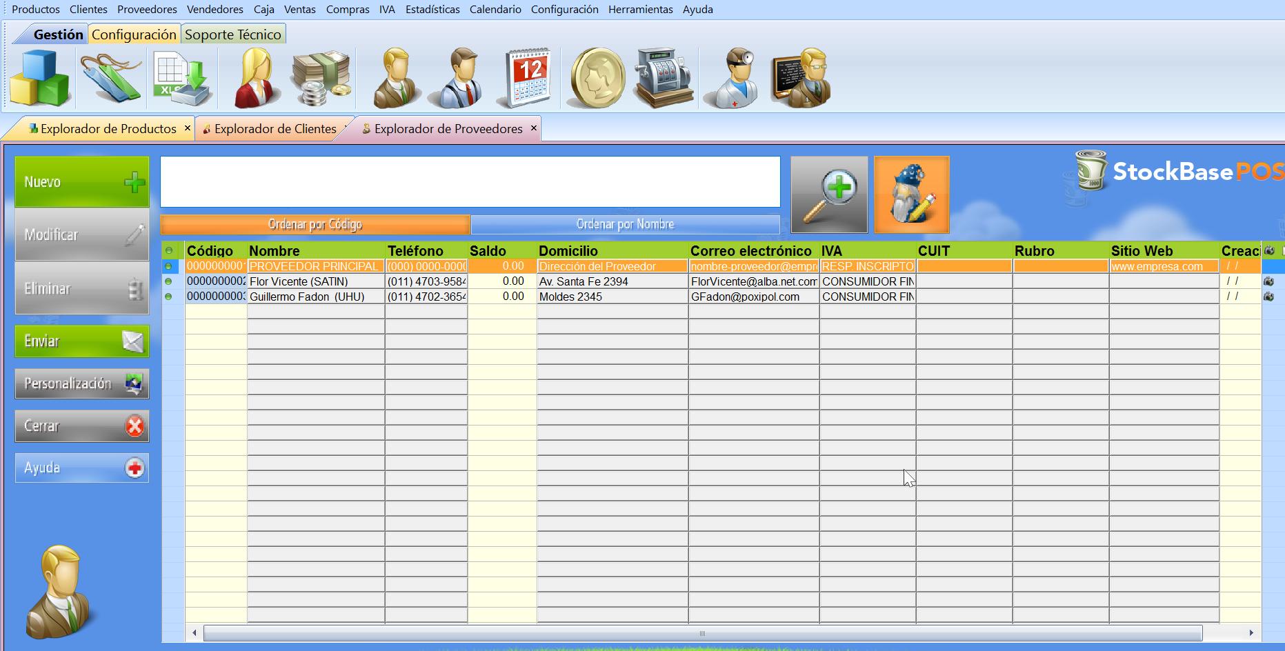 configuracion de la interfaz modo imperio software de gesti贸n