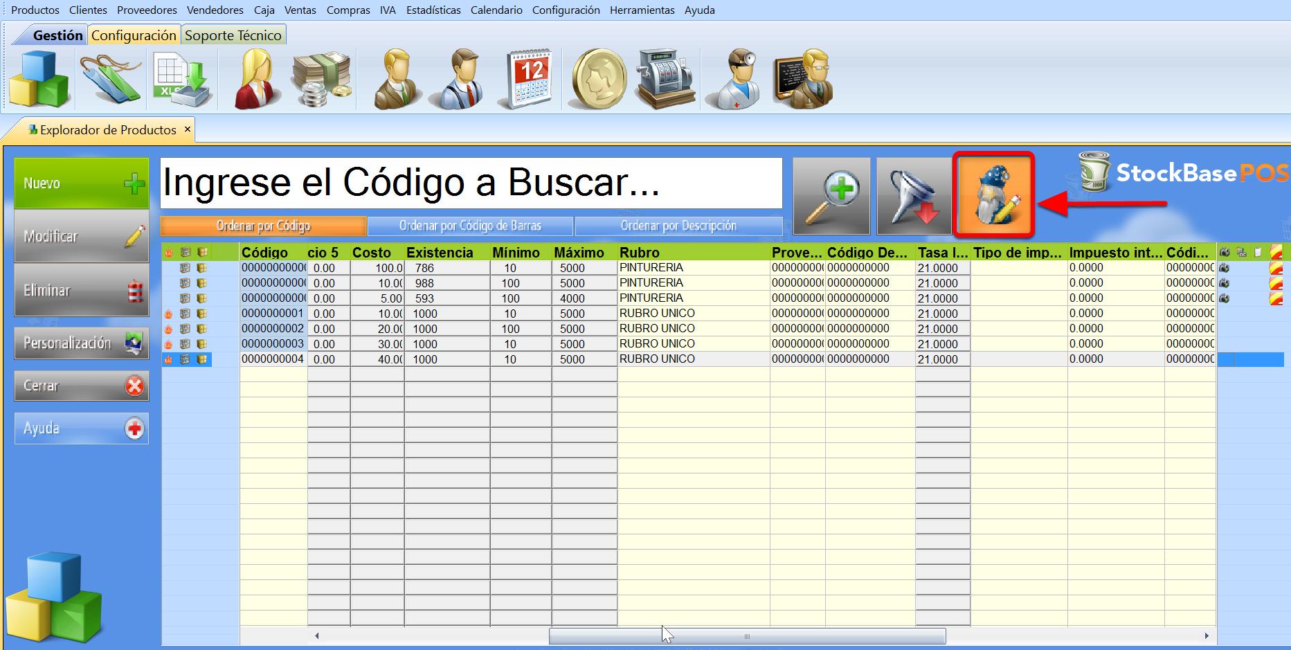 El bot贸n Modificaci贸n R谩pida permite editar los datos directamente desde el explorador del software de facturacion