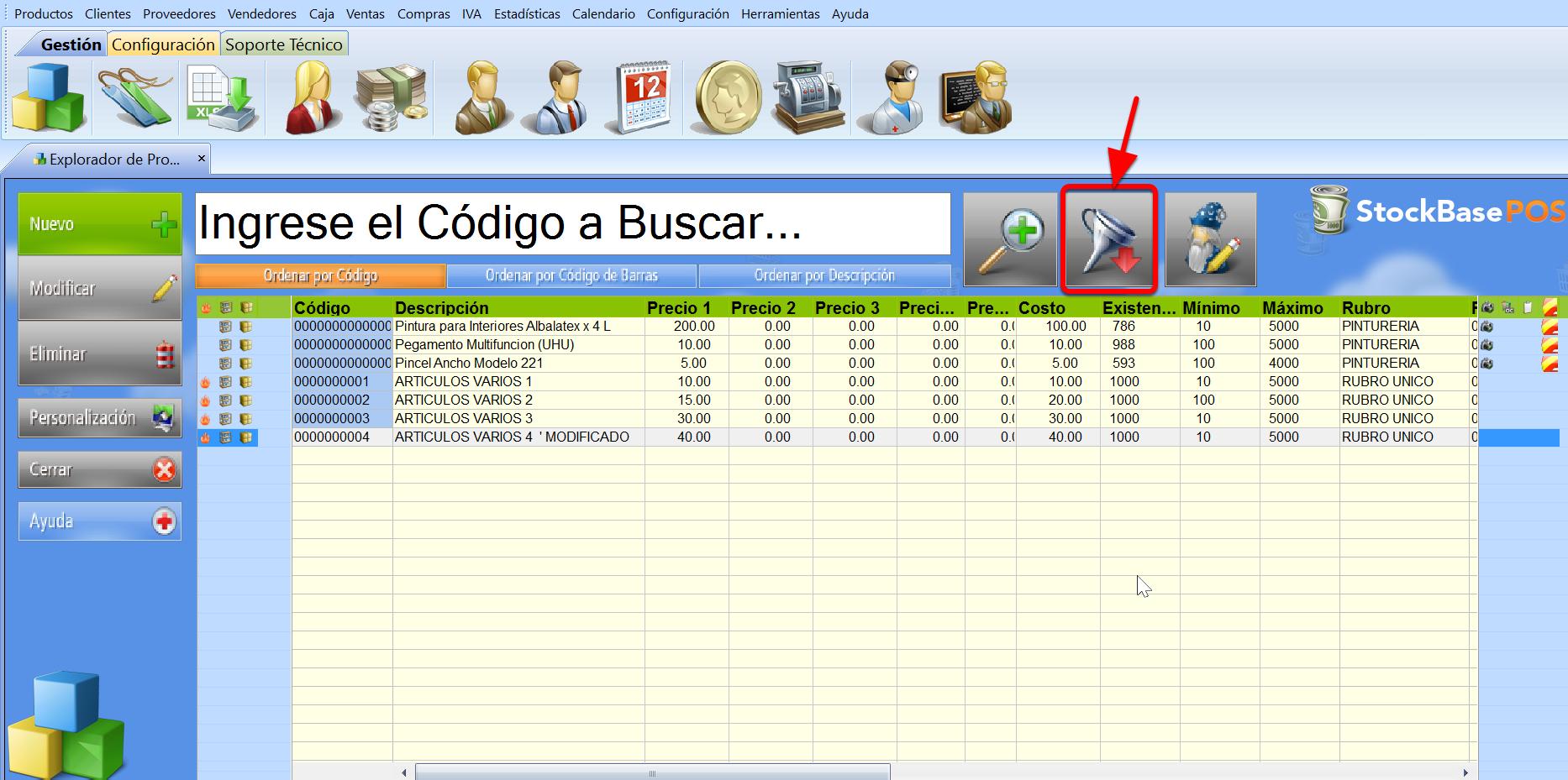 Bot贸n Filtro de Registros permite visualizar de manera personalizada s贸lo los registros que nos interesan