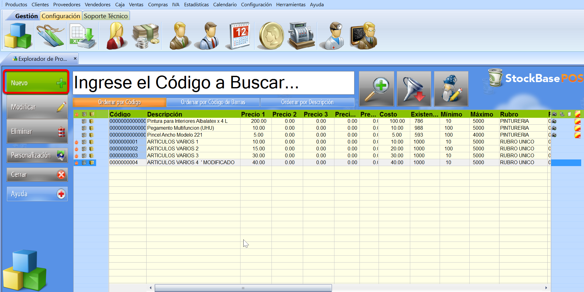 Boton crear nuevo registro sistema de gestion