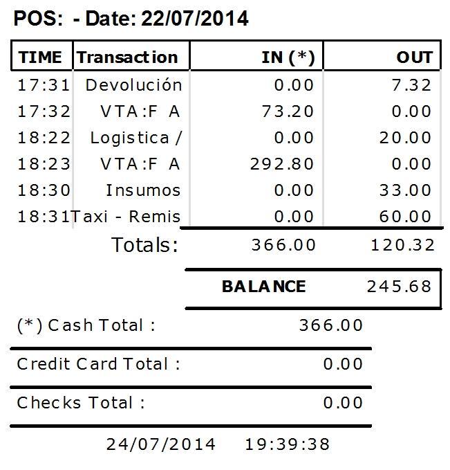 Reporte de Caja Diaria (Formato ticket) / Cashflow report