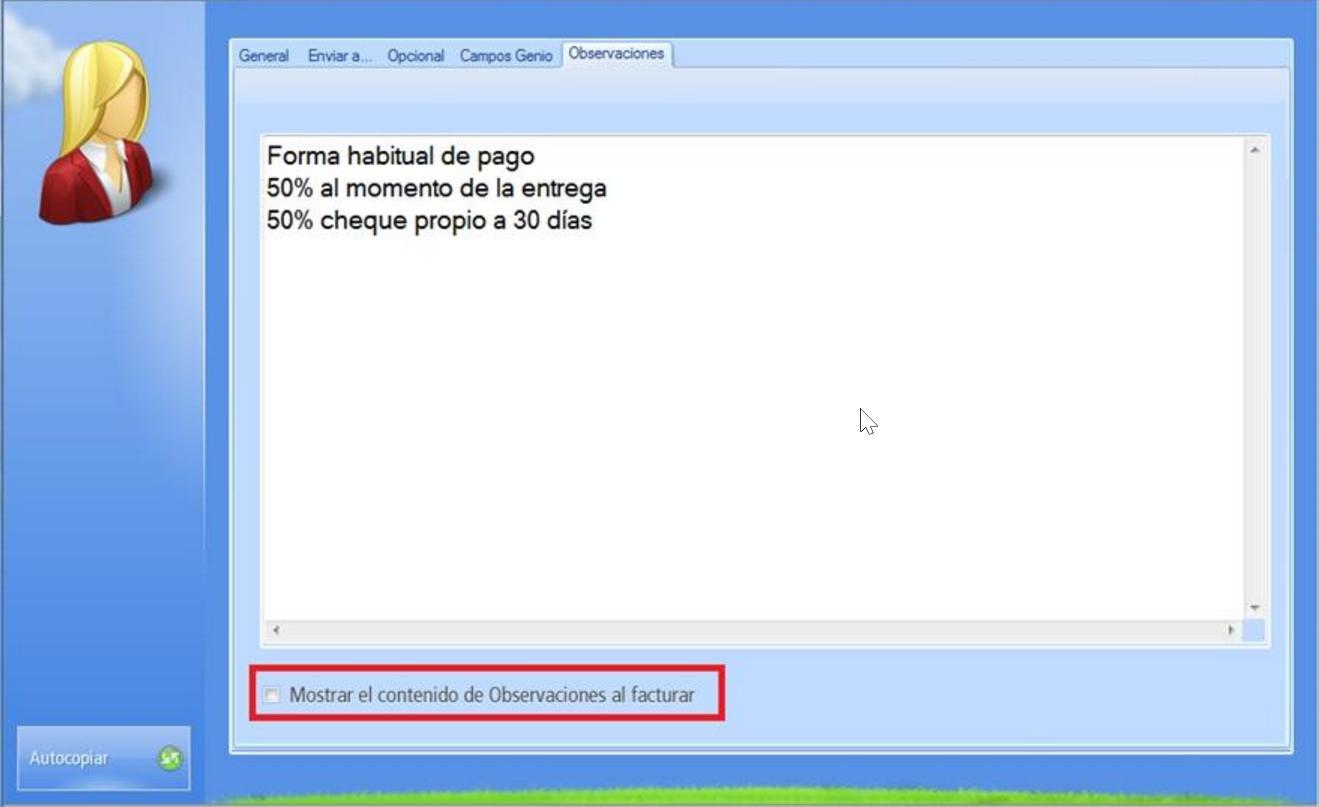 �Pestaña Observaciones contiene un área de texto para anotar sobre el cliente