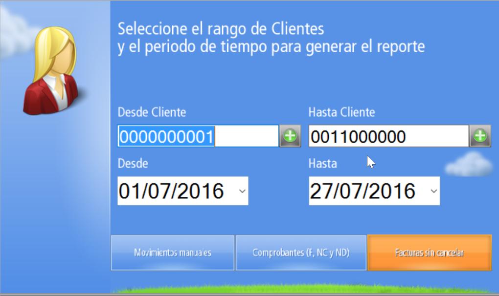Ventana de Otros Reportes de Cuentas Corrientes de Clientes - Define los parámetros y elige el Reporte