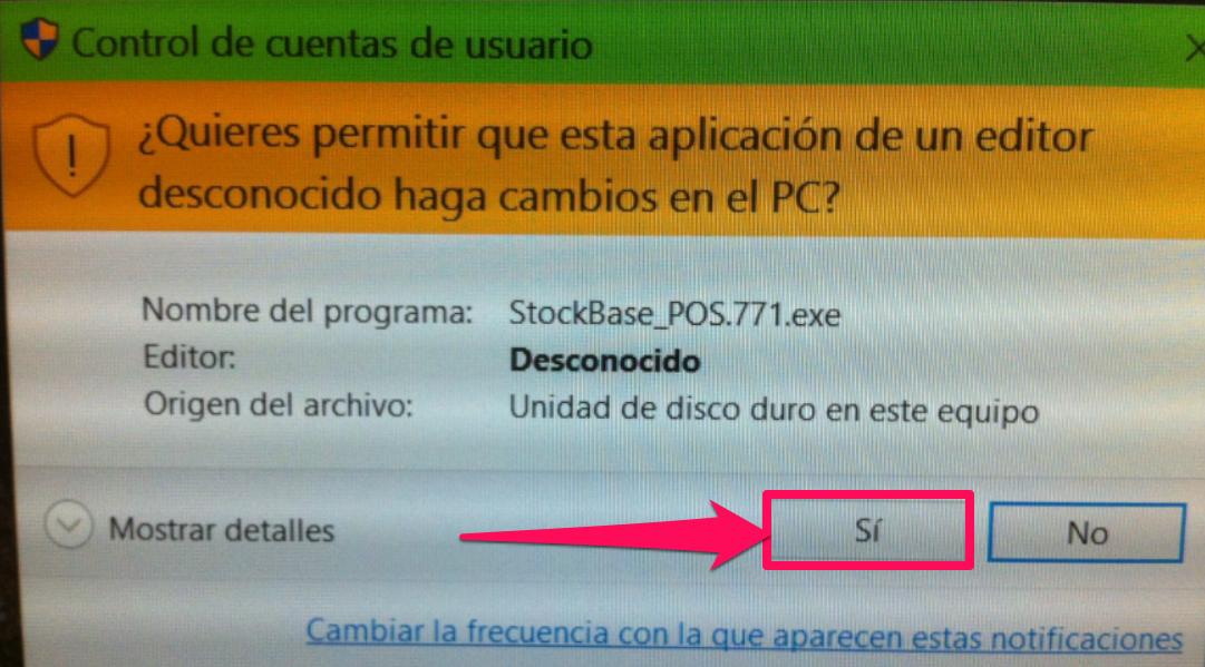 Dale clic a la opci贸n S铆 a los derechos de administrador de windows