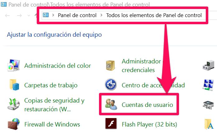 Podr谩s verificar si est谩s ejecutando Windows con estos derechos desde dentro del panel de control