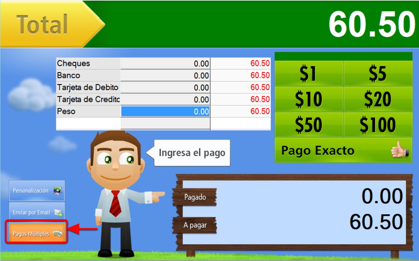 Ventana de recepción del Pago en Efectivo, para otras formas de pago presiona el botón Pagos Múltiples.