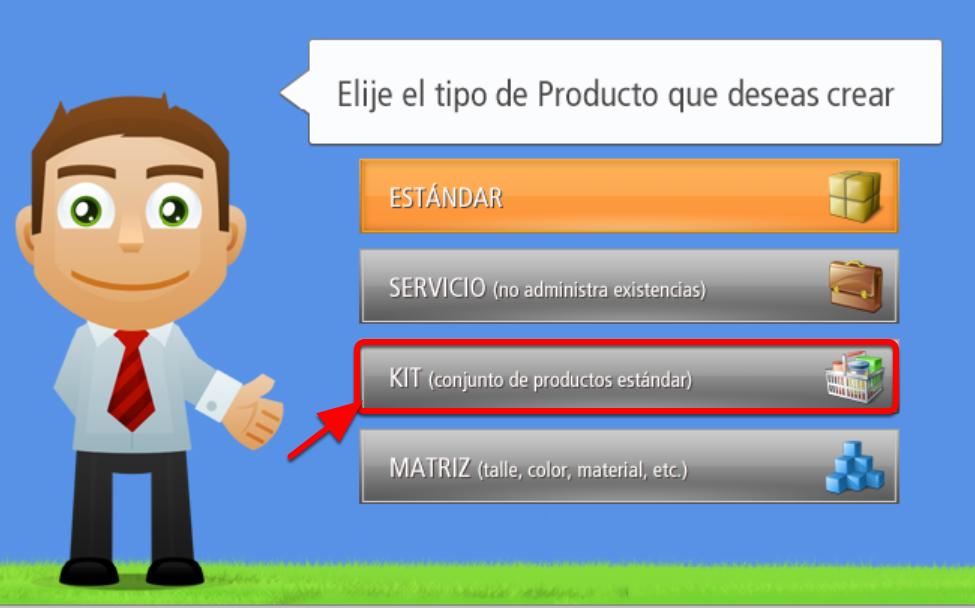 Para crear un Producto Tipo KIT debes presionar este Botón Para crear un Producto Tipo KIT debes presionar este Botón