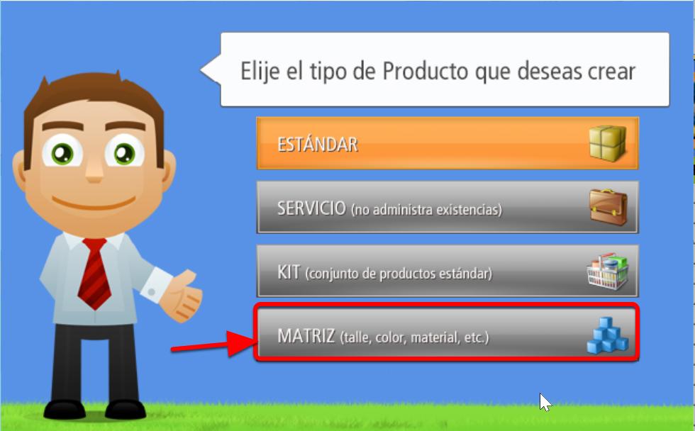 Para crear un Producto Tipo Matriz debes presionar este Botón