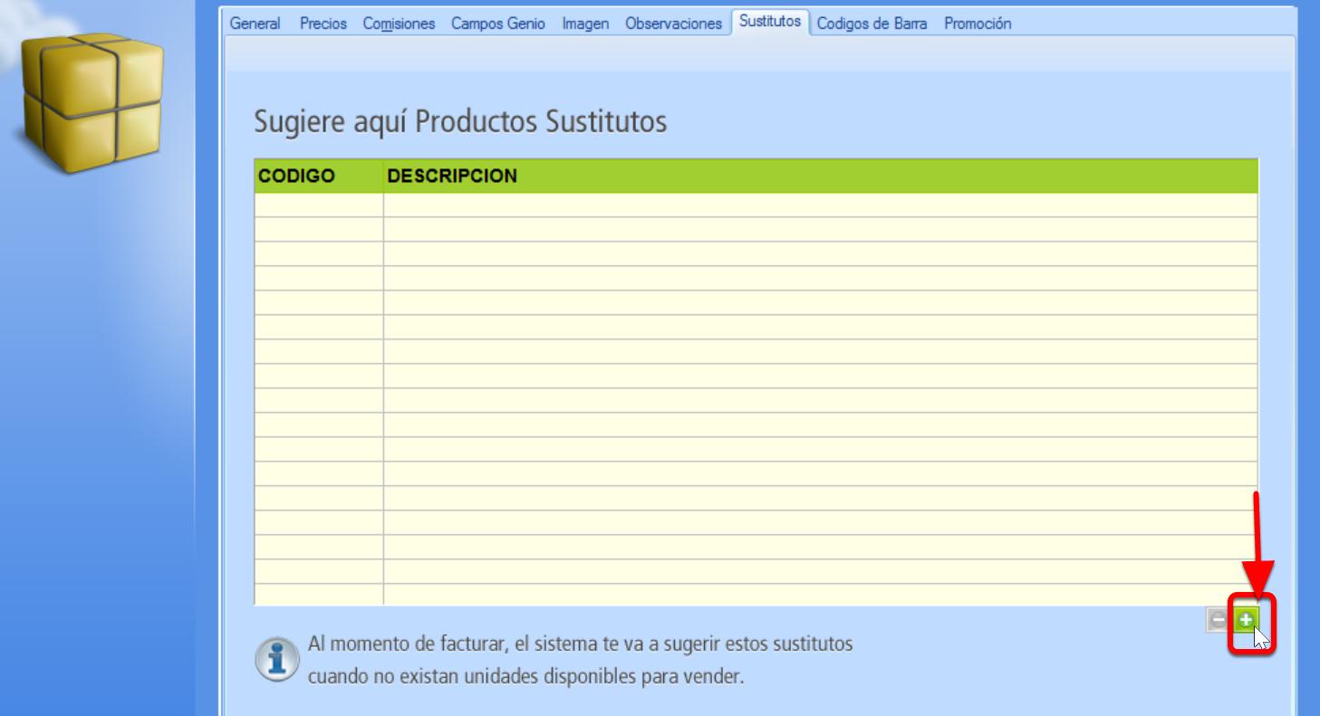 Pesta帽a de productos Sustitutos