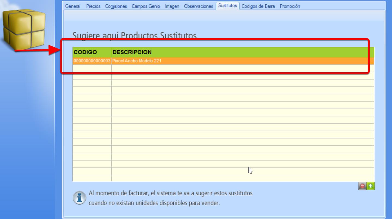 Producto sustituto agregado al registro del producto principal