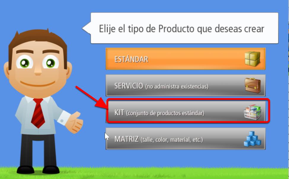 Ventana de Selecci贸n de Tipo de Producto - Presionar el Bot贸n KIT