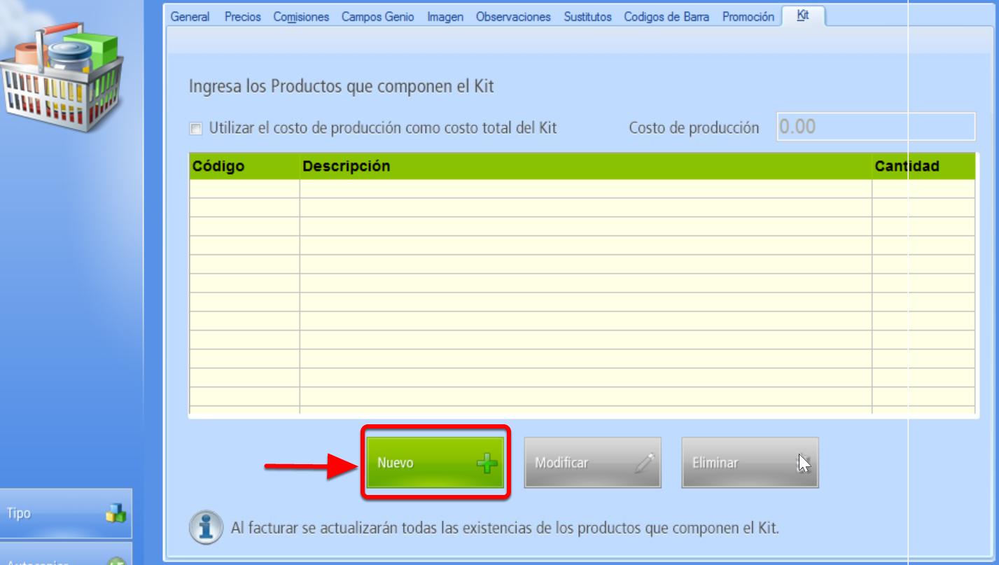 "Pesta帽a Kit - Bot贸n ""Nuevo"" agrega un producto integrante del kit"