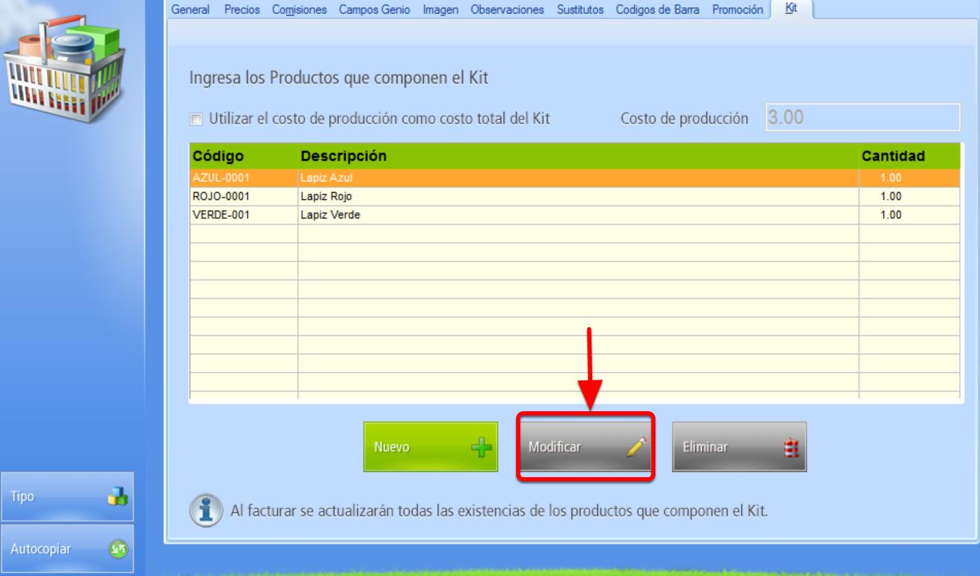 """Ventana integrantes del Kit bot贸n """"Modificar"""" cantidad de cada producto integrante del Kit"""