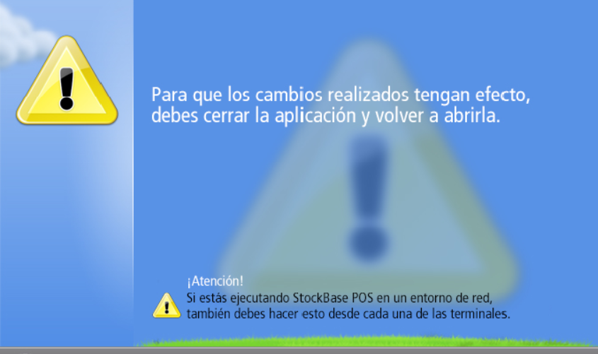 Ventana que solicita cerrar la aplicaci贸n para guardar los cambios en configuraci贸n