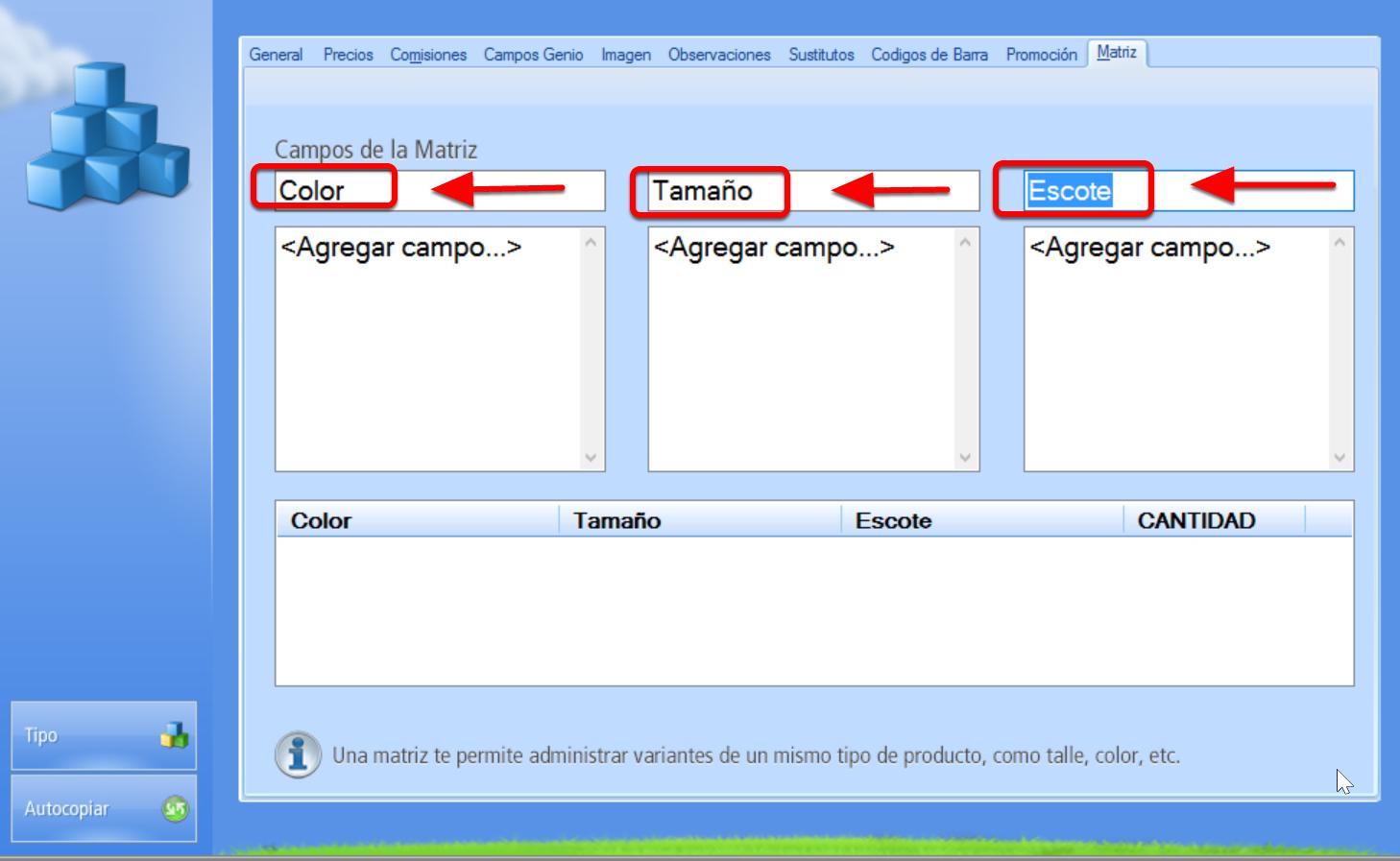 Nombrar campo correspondiente a cada una de las caracter铆sticas que var铆an. Por ejemplo: Color, Talla, Escote