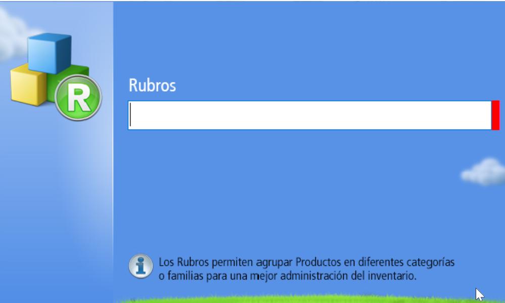 En el campo Rubro debes escribir la nueva categoría o Familia de producto que deseas crear.