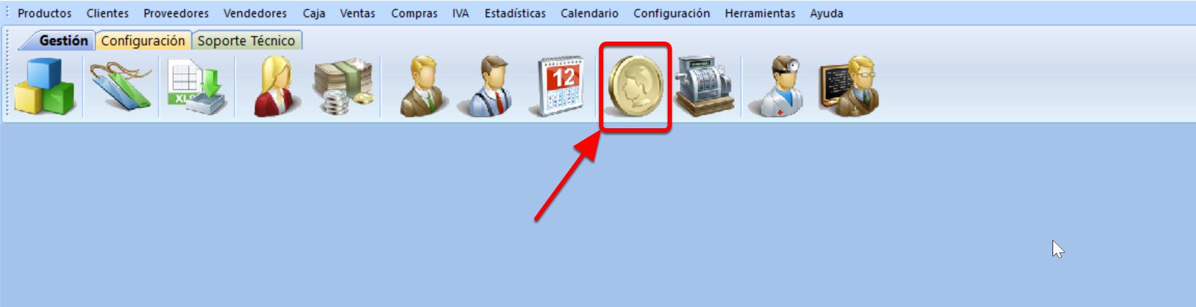 El icono para abrir el módulo de facturación es el de la moneda