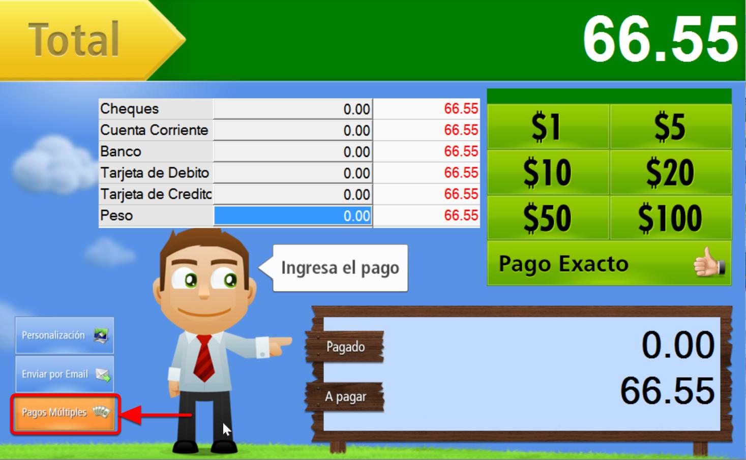 Ventana de recepción del Pago en Efectivo, para otras formas de pago presiona el botón: Pagos Múltiples