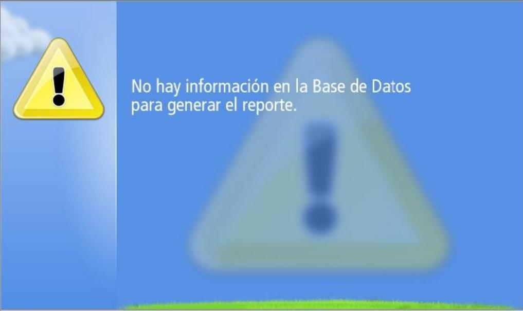 no hay registros de datos para generar reporte solicitado