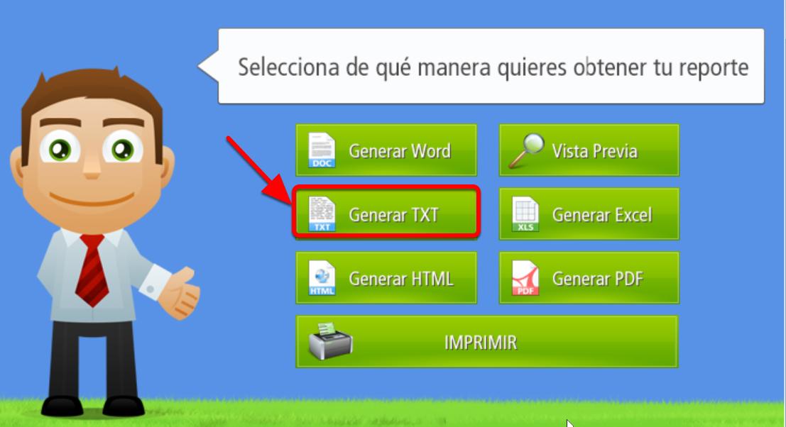 Este es el botón que permite generar Reportes en formato TXT