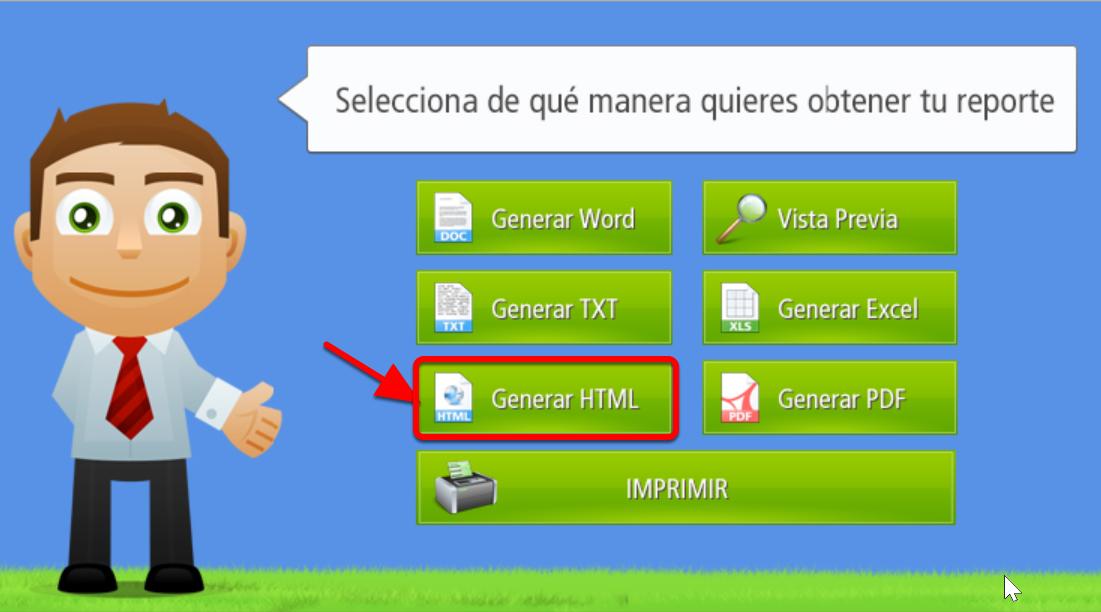 Este es el botón que permite generar Reportes en formato HTML