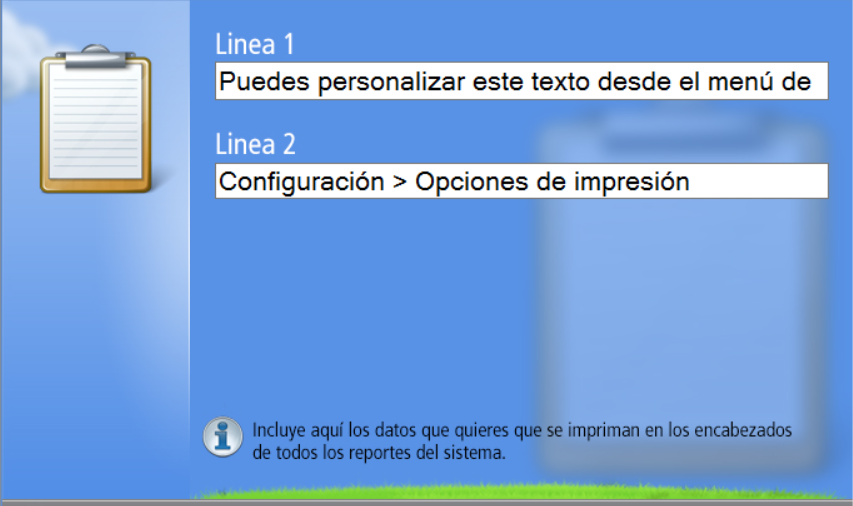 Hay dos campos disponibles para que ingreses los datos de tu empresa para los encabezados de reportes