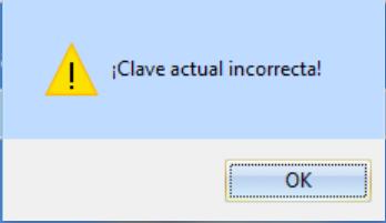 Mensaje de Clave de supervisor de Ventas incorrecta