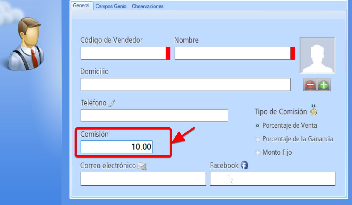 Registro de Nuevo Vendedor - Campo Comisión