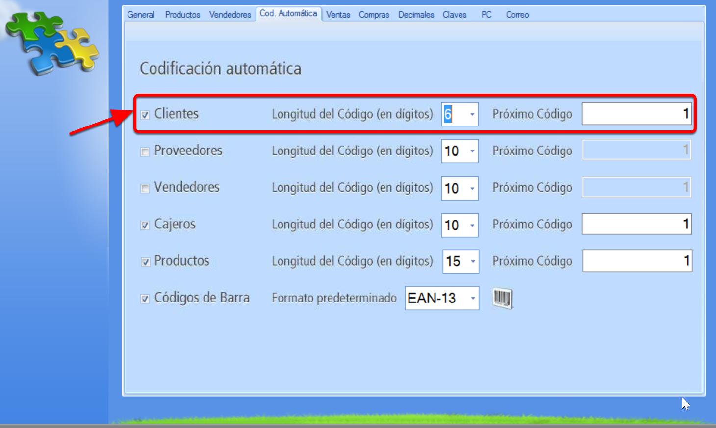 Establece la codificación automática de cliente