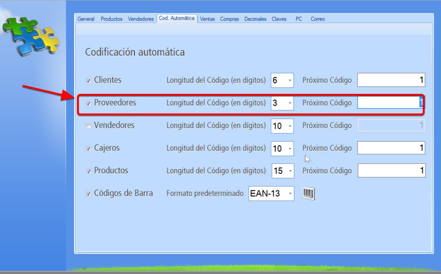 Establece la codificación automática de proveedores