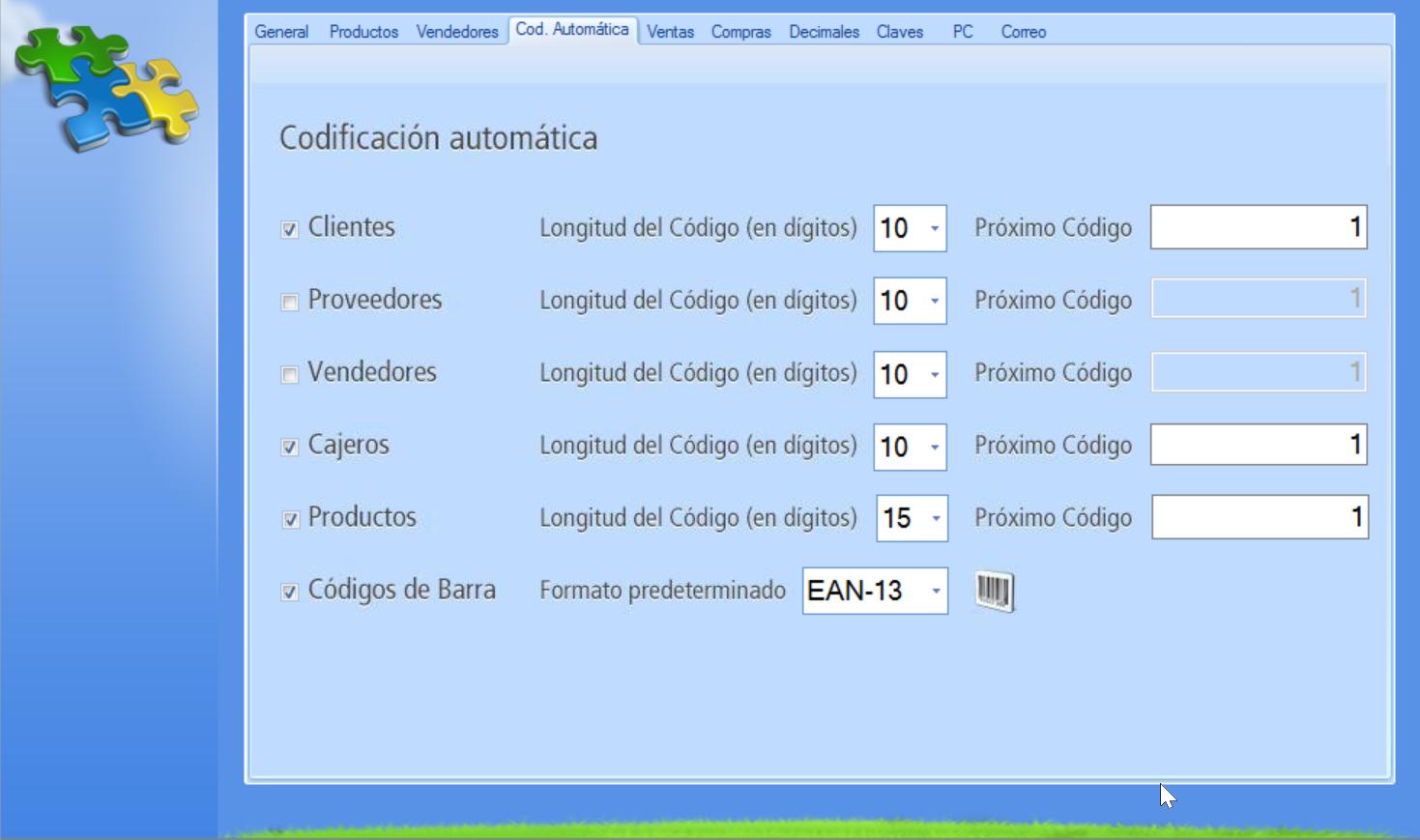 Pestaña Codificación Automática en la ventana de Configuración de la aplicación