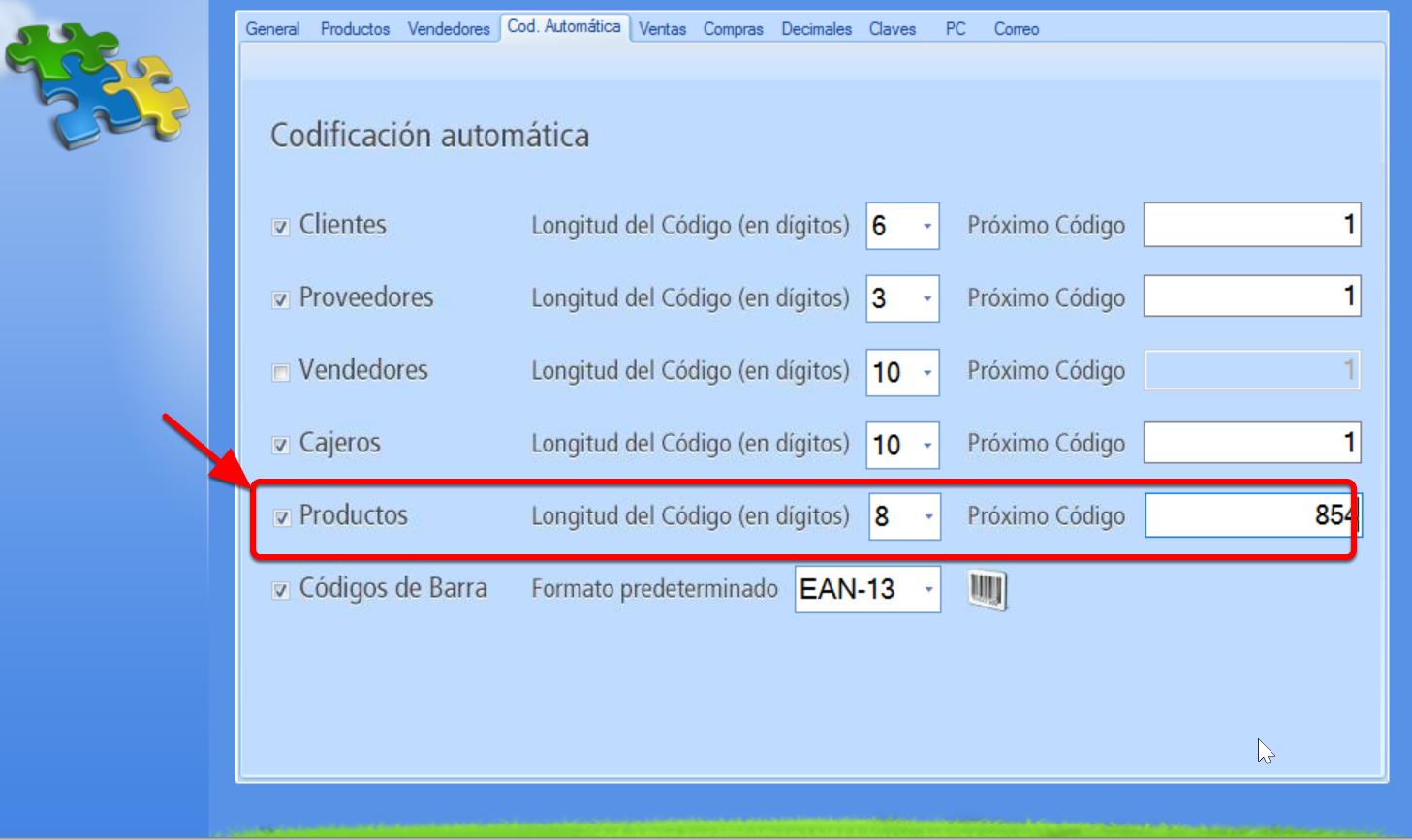 Establece la codificación automática de productos