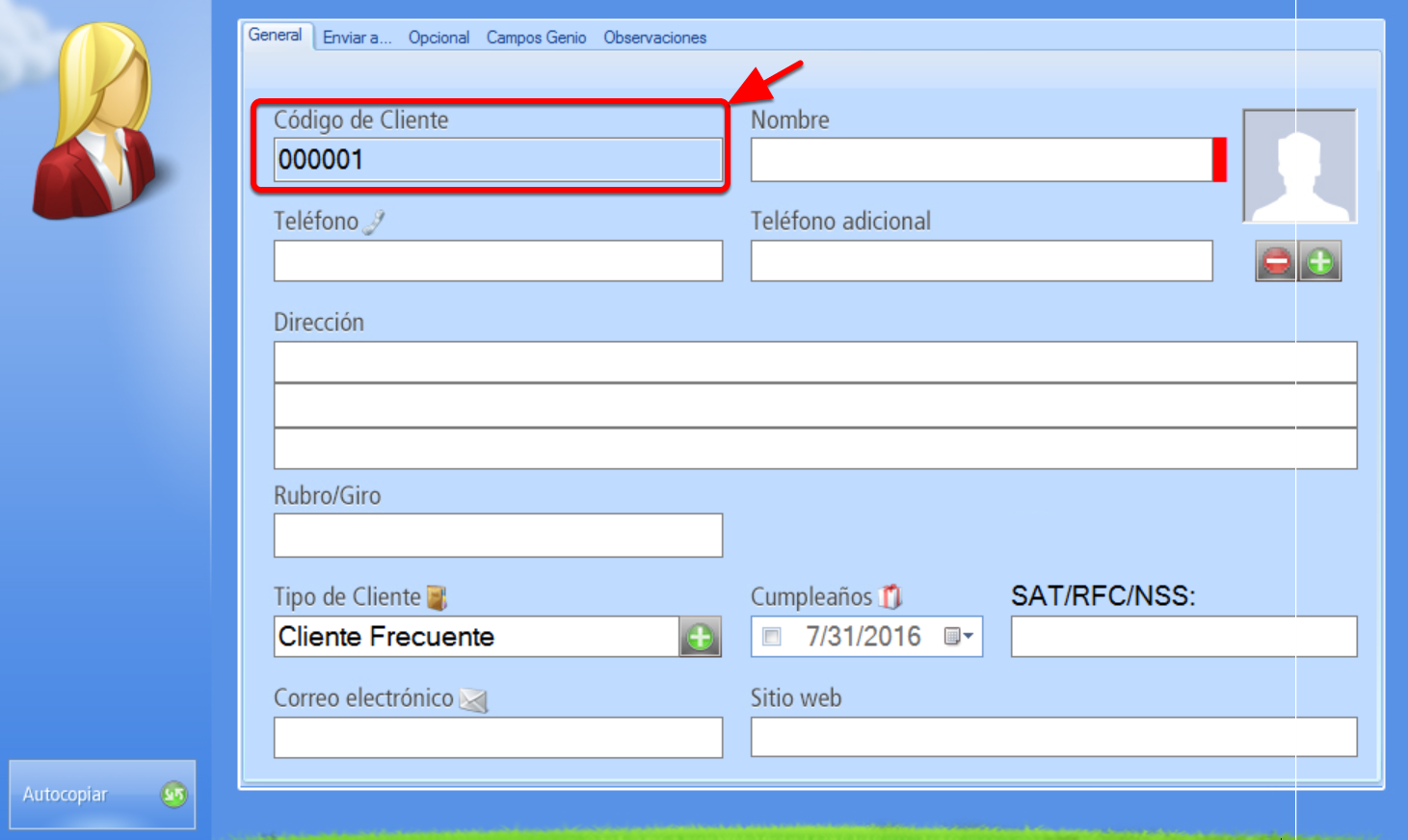 Registro de Nuevo Cliente con codificaci贸n autom谩tica - Campo c贸digo bloqueado por asignaci贸n autom谩tica de c贸digo