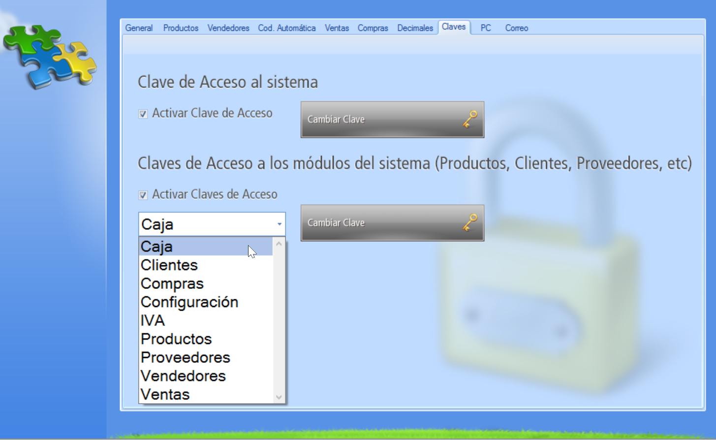 Selección del módulo del sistema al cual asignarás una clave de acceso