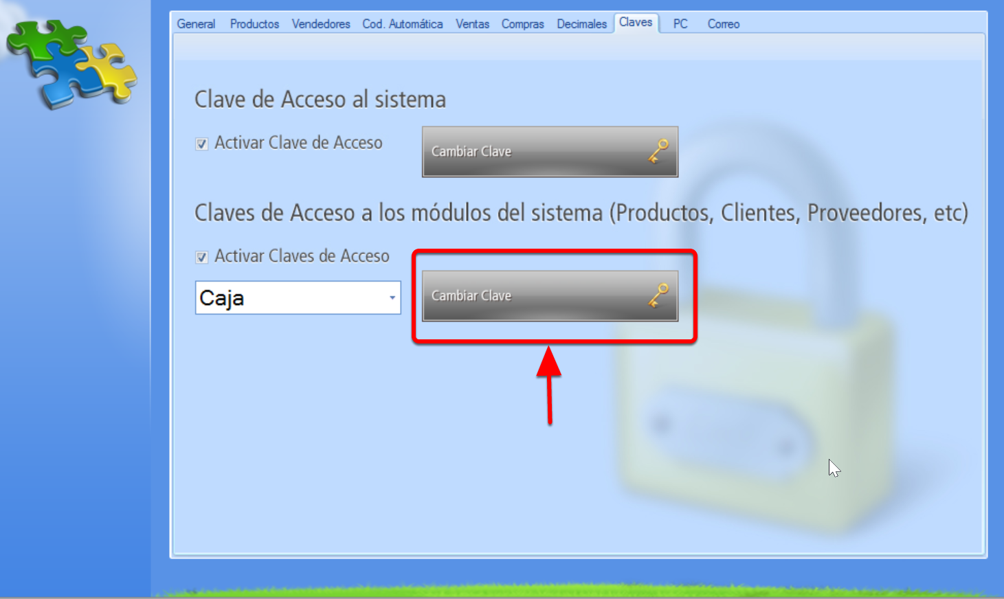 Para modificar una Clave de acceso modular hay que seleccionar el módulo y presionar el botón