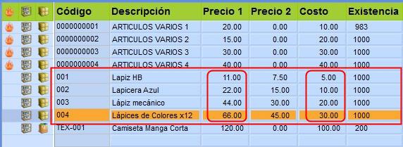 Puedes ver cómo lucen los resultados de la actualización de precios en el ejemplo que realizamos