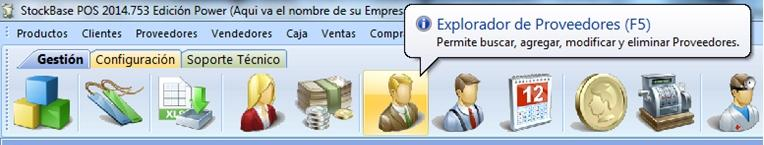 Icono Proveedores en la barra de íconos