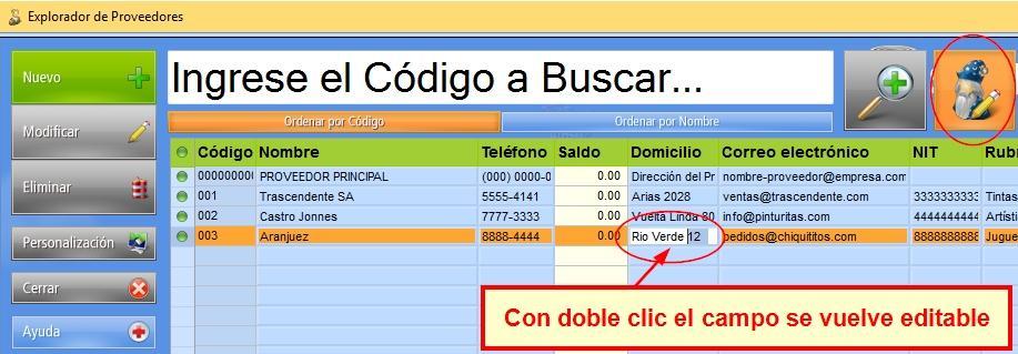 En el modo Modificaci贸n R谩pida activada puedes editar un campo con doble clic