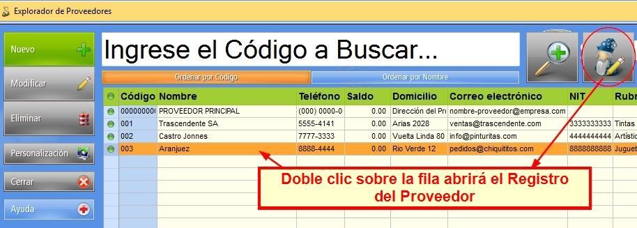Con Modificaci贸n R谩pida desactivada, un doble clic abre el registro del Proveedor