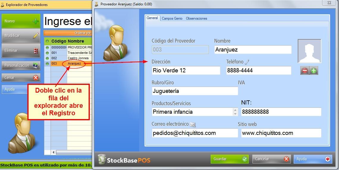Se abre el registro del proveedor para editarse desde sus pesta帽as y campos