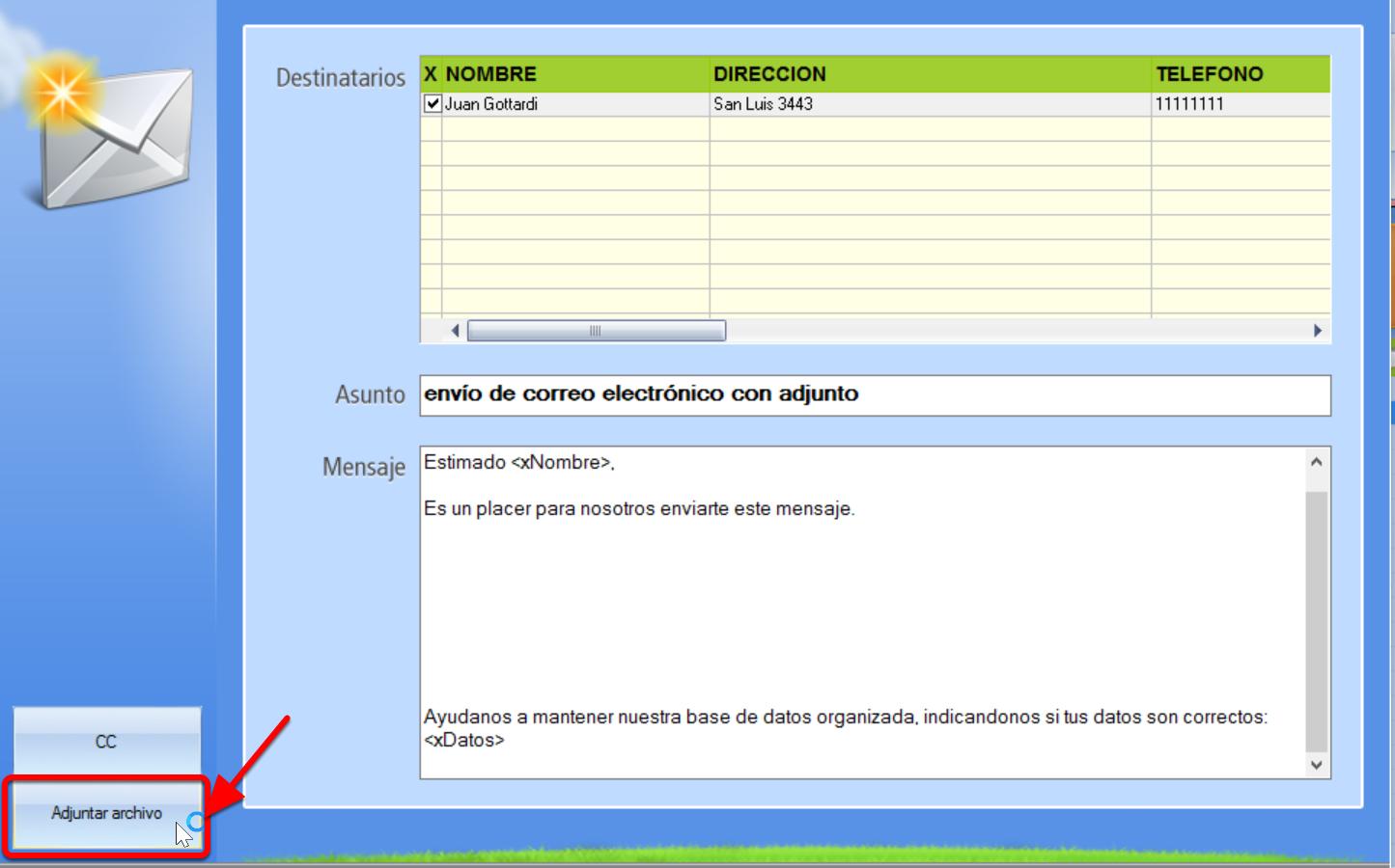 Opción adjuntar archivo en envío de email