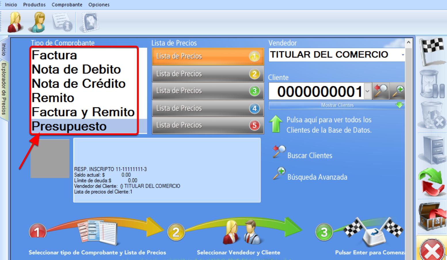 En la pantalla inicial del módulo de facturación podrás elegir el comprobante deseado
