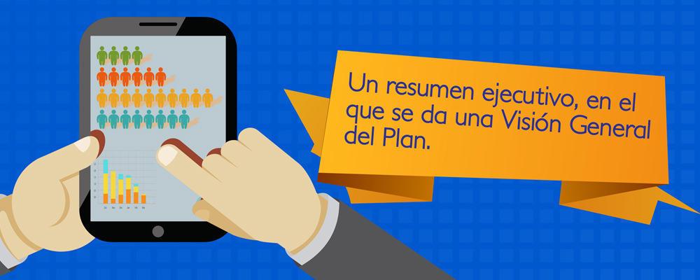 En el resumen ejecutivo, debes dar una visión general del plan